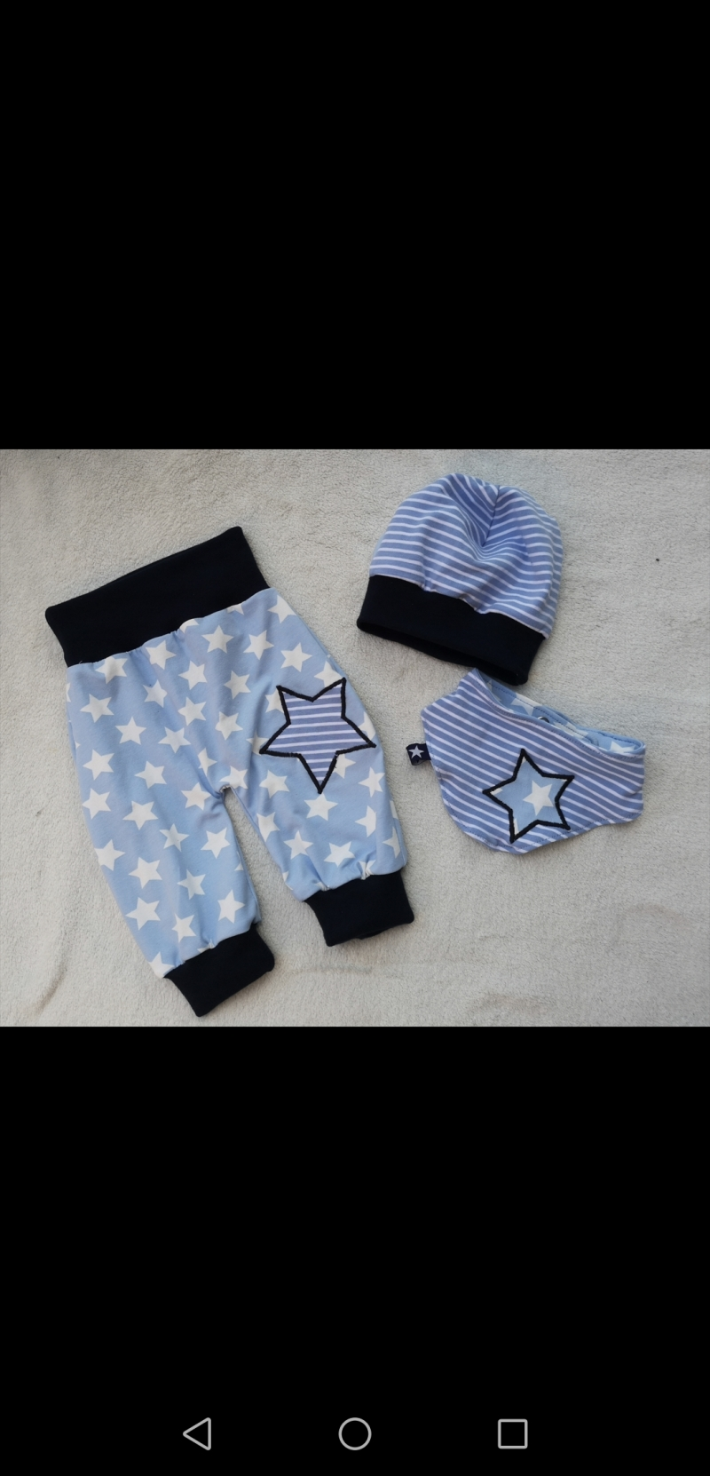 Kleinesbild - 3 tlg.Set aus Pumphose , Mütze und Tuch - Streifen+Sterne- in den Gr.50/56 bis 98/104  aus Jersey