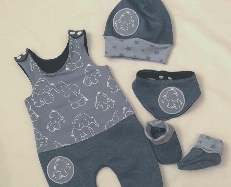 Kleinesbild - 4 tlg.Set aus Strampler /Latz Pumphose , Schuhen ,Mütze und Tuch - Elefant - in den Gr.50/56 bis 62/68 aus Jersey