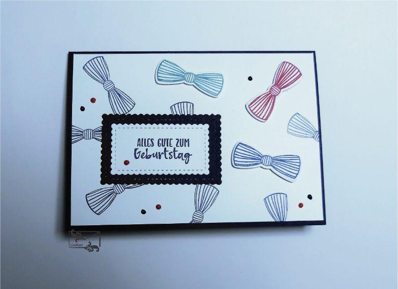 - 3D Geburtstagskarte für ♂Männer ♂mit Fliege und Grußtext - Blau,Rot,Grün  Handarbeit Stampin Up! - 3D Geburtstagskarte für ♂Männer ♂mit Fliege und Grußtext - Blau,Rot,Grün  Handarbeit Stampin Up!