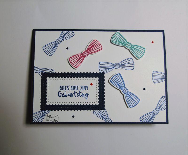 - 3D Geburtstagskarte für ♂Männer ♂mit Fliege und Grußtext Blau,Rot,Grün  Handarbeit Stampin Up! - 3D Geburtstagskarte für ♂Männer ♂mit Fliege und Grußtext Blau,Rot,Grün  Handarbeit Stampin Up!