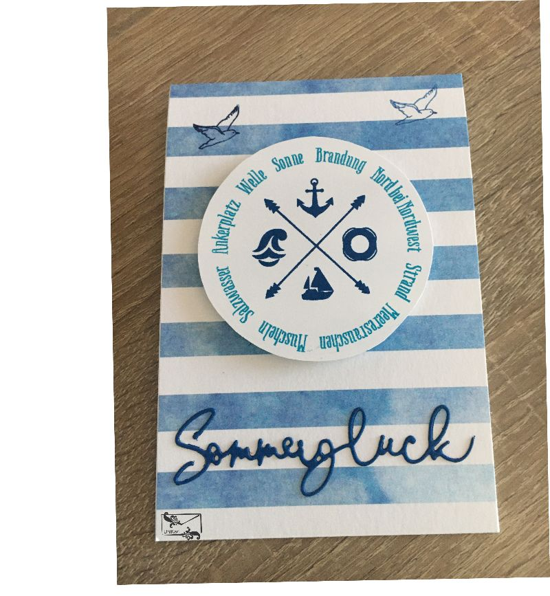 - Maritime Grußkarte aus Karton gebastelt mit Grußtext  ☀ Sommerglück ☀   - Maritime Grußkarte aus Karton gebastelt mit Grußtext  ☀ Sommerglück ☀