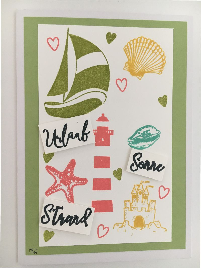 - Maritime Grußkarte mit Leuchtturm, Muscheln, Segelboot, Sandburg aus Karton gebastelt Bunt - Maritime Grußkarte mit Leuchtturm, Muscheln, Segelboot, Sandburg aus Karton gebastelt Bunt