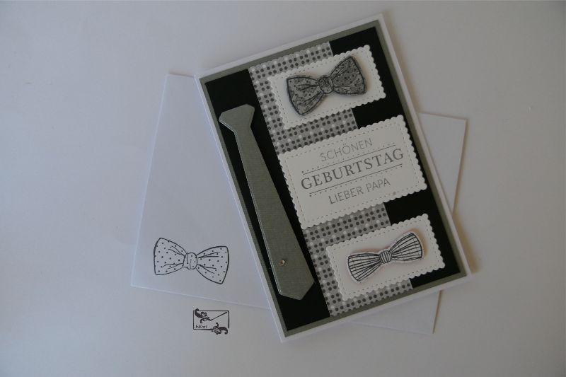 Kleinesbild -   3D ♂Geburtstagskarte für Väter ♂und Grußtext in Weiß/Grau Handarbeit Stampin