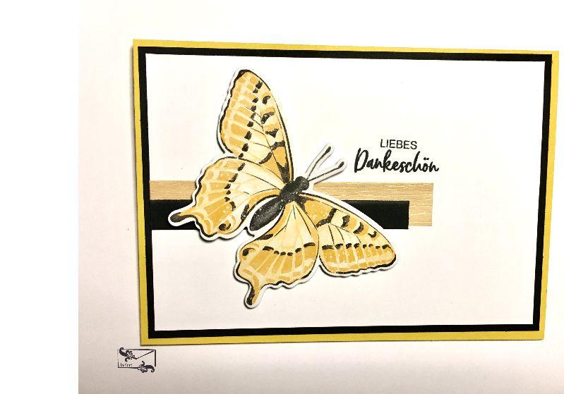 -  ♡ Danksagungskarte ♡ mit gelben Schmetterling & Grusstext Handgefertigt mit Stampin