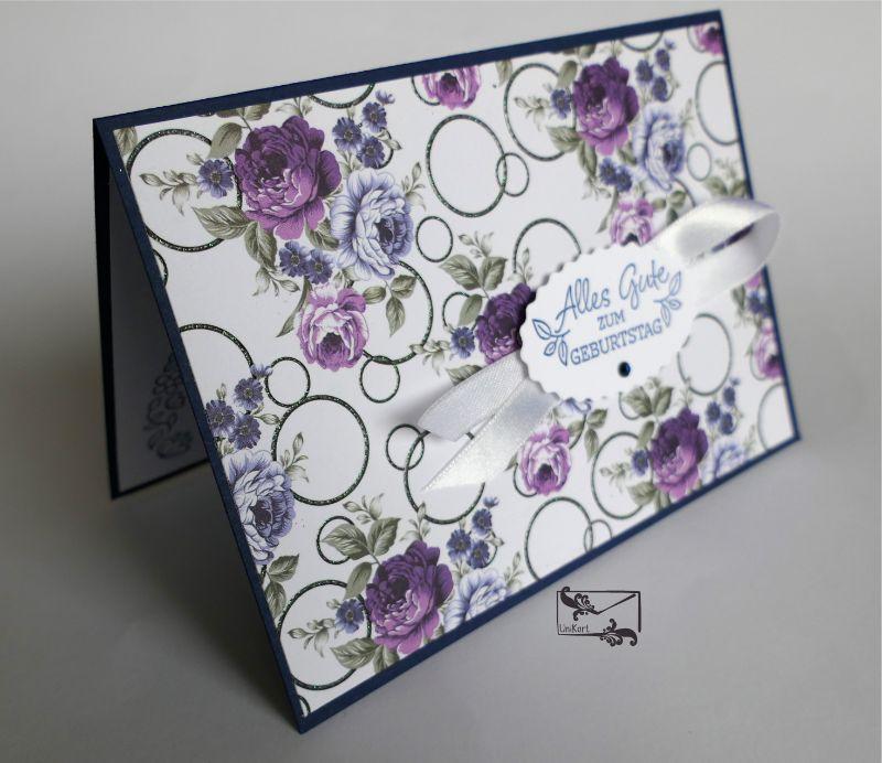 - Grußkarte mit Grußtext Handarbeit Lila/Blau Töne Stampin up und andere  - Grußkarte mit Grußtext Handarbeit Lila/Blau Töne Stampin up und andere