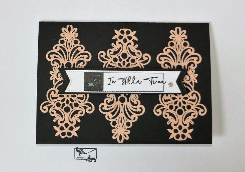 - Beileidskarte Kondolenzkarte Trauerkarte Handgefertigt in Schwarz-Blüten Rosa  - Beileidskarte Kondolenzkarte Trauerkarte Handgefertigt in Schwarz-Blüten Rosa