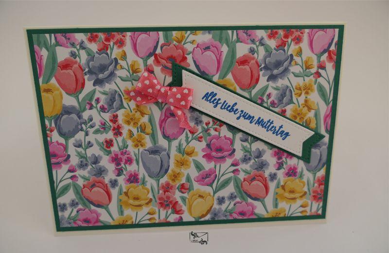 - 3D ♡ Muttertagskarte ♡ mit Grusstext Handgefertigt Stampin