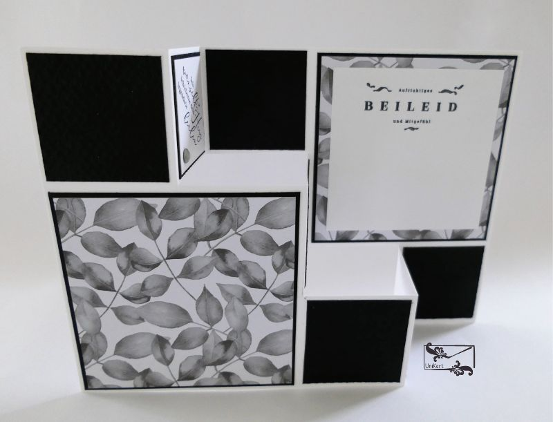- Beileidskarte gestaltet als 3D Große Faltkarte/Treppenkarte Schwarz-Weiß Handarbeit Stampin