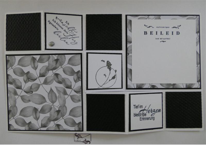 Kleinesbild - Beileidskarte gestaltet als 3D Große Faltkarte/Treppenkarte Schwarz-Weiß Handarbeit Stampin