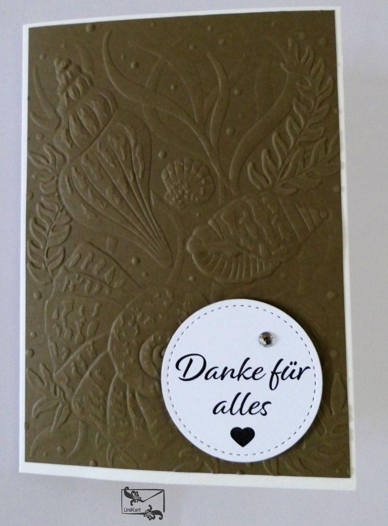 -  Maritime ♡ Danksagungskarte ♡ Braun/Beige Handgefertigt mit Stampin