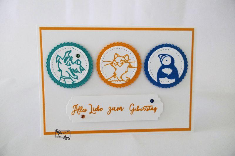 Kleinesbild - Kinder Glückwunschkarte zum Geburtstag mit Grusstext Handgefertigt aus Stampin