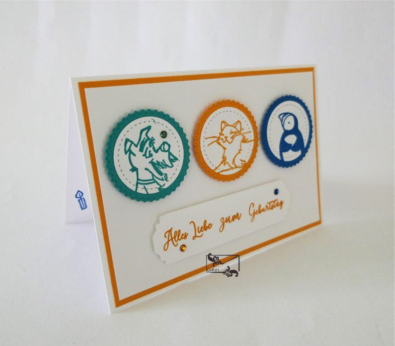 - Kinder Glückwunschkarte zum Geburtstag mit Grusstext Handgefertigt aus Stampin