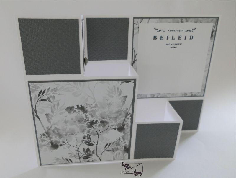 - Beileidskarte gestaltet als 3D Große Faltkarte/Treppenkarte Grau/Weiß/Schwarz Handarbeit Stampin