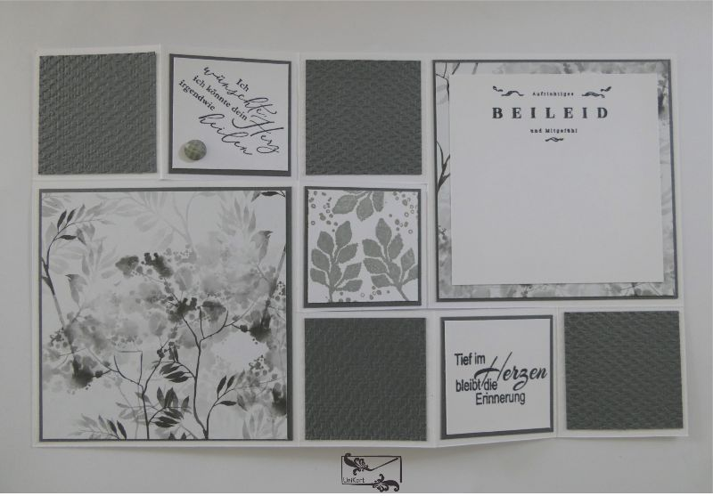 Kleinesbild - Beileidskarte gestaltet als 3D Große Faltkarte/Treppenkarte Grau/Weiß/Schwarz Handarbeit Stampin