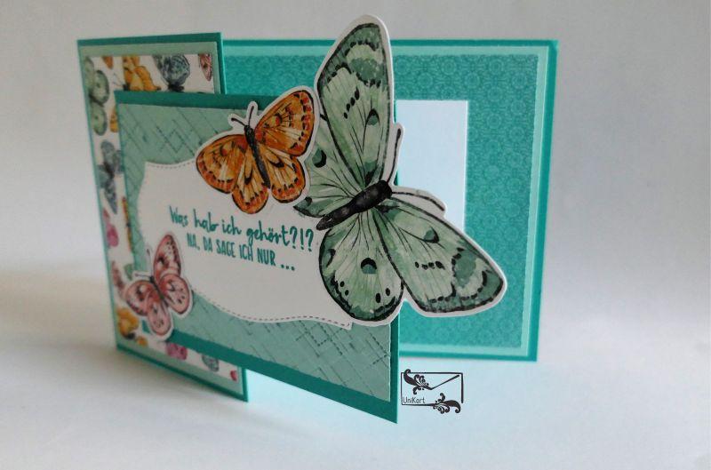 Kleinesbild - Besonders geformte Glückwunschkarte zum Geburtstag Stampin up! Mit Schmetterlingen