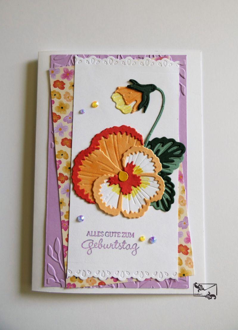 Kleinesbild - Stilvolle Geburtstagskarte Grußkarte mit Stiefmütterchen ©Stampin up!