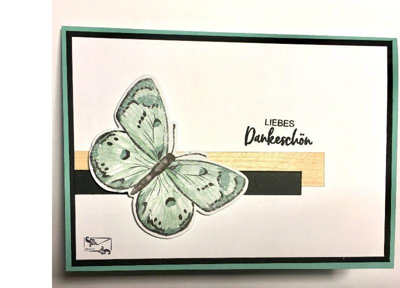 -  ♡ Danksagungskarte ♡ mit grünem Schmetterling & Grusstext Handgefertigt mit Stampin