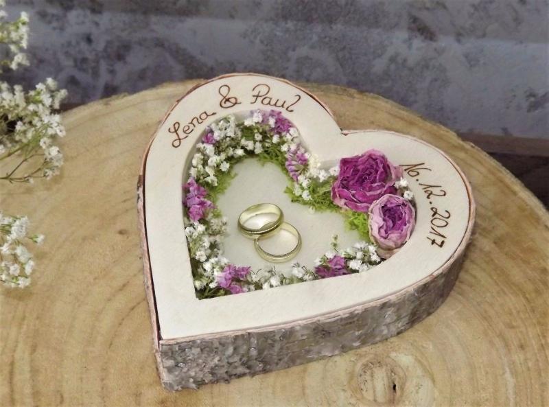 - Hochzeit Ringkissen Ringhalter Herz Mille Fleurs Holzherz für Eheringe mit Namen - Hochzeit Ringkissen Ringhalter Herz Mille Fleurs Holzherz für Eheringe mit Namen