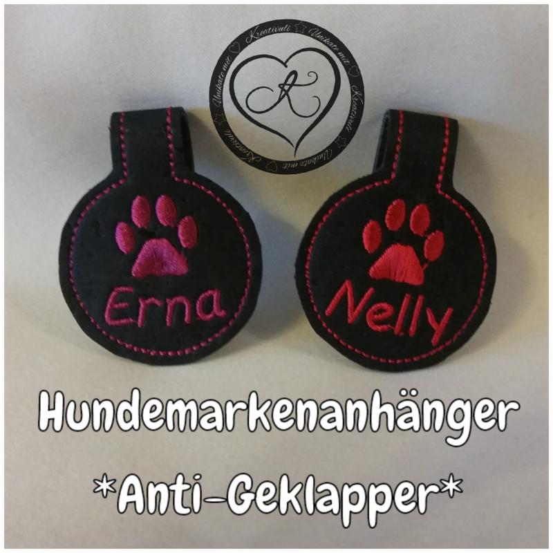 Kleinesbild - Stickdatei Hundemarkenanhänger  *Antigeklapper*  ITH 10x10