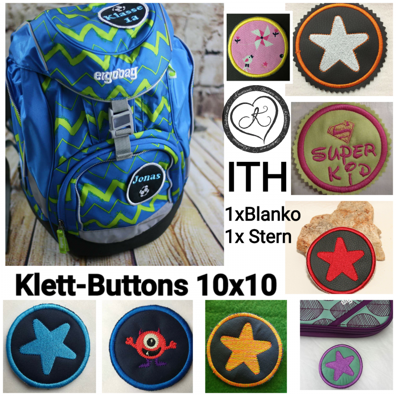 - Stickdatei * Klett - Buttons*  ITH 10x10 *Stern und Blanko* - Stickdatei * Klett - Buttons*  ITH 10x10 *Stern und Blanko*