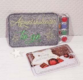 Kleinesbild - Stickdatei  * Adventskalender to go*    13x18   ITH   Hülle für Mini-Adventskalender