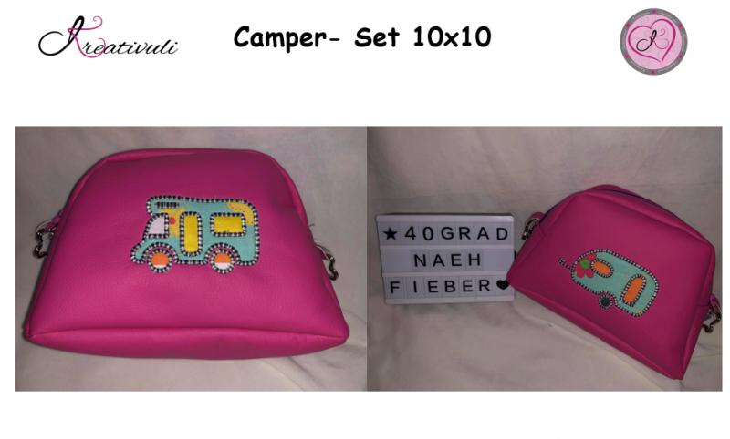 Kleinesbild - Stickdatei * Camping *  Set  10x10   ITH   Anhänger & Applikationen  6- teilig
