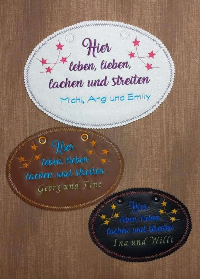 Kleinesbild - Stickdatei   *Türschild Leben, Lieben, Lachen*  13x18 -16x23 - 20x28