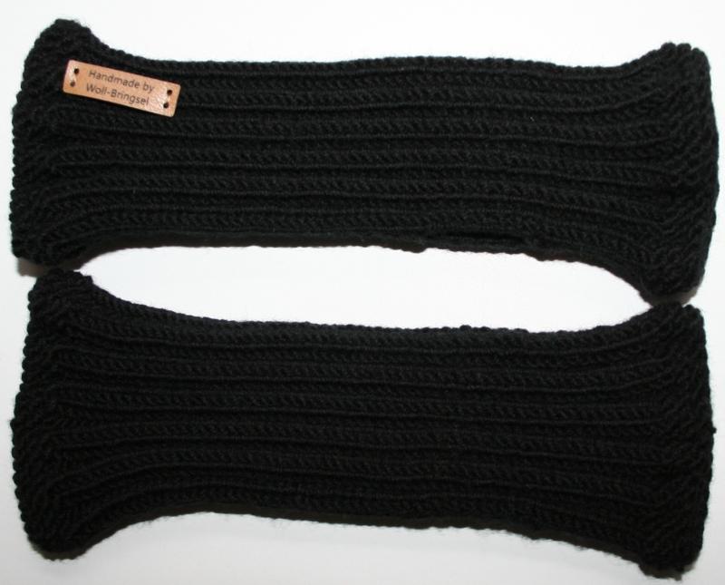 - handgestrickte Handstulpen aus 100% Merionoschurwolle schwarz unisex - handgestrickte Handstulpen aus 100% Merionoschurwolle schwarz unisex