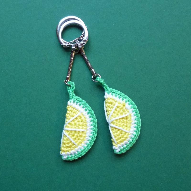 - Schlüsselanhänger Taschenbaumler Limette Zitrone aus Baumwolle handgehäkelt - Schlüsselanhänger Taschenbaumler Limette Zitrone aus Baumwolle handgehäkelt