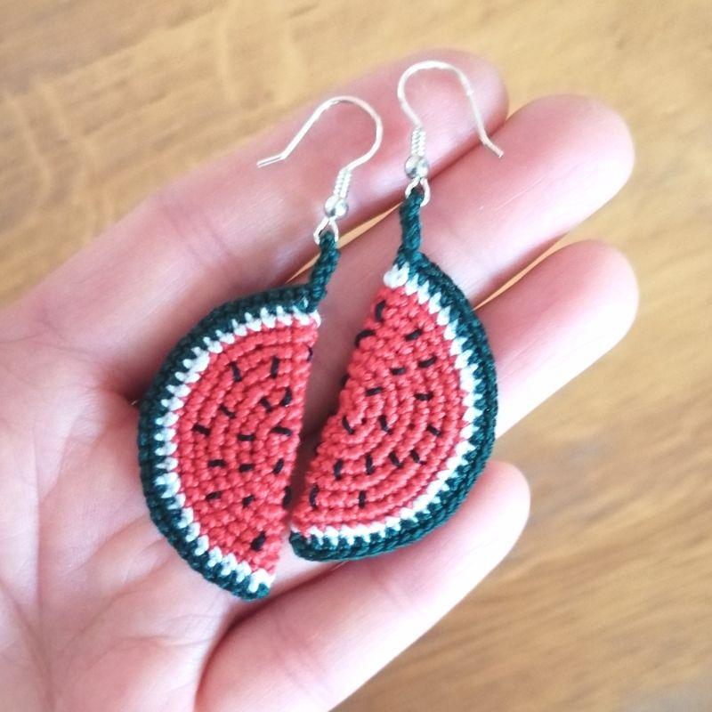 - Ohrringe Melone aus Baumwolle sehr fein handgehäkelt - Ohrringe Melone aus Baumwolle sehr fein handgehäkelt