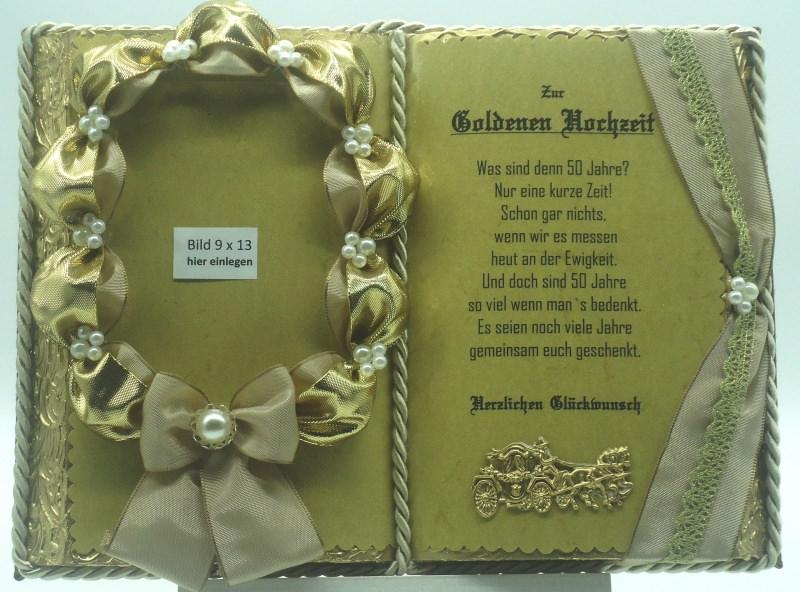 Kleinesbild - Deko-Buch Goldene Hochzeit für Foto mit Holz-Buchständer