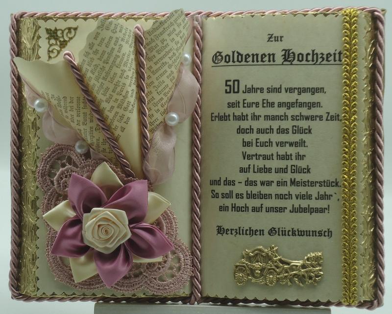 - Deko-Buch Goldene Hochzeit  mit Holz-Buchständer - Deko-Buch Goldene Hochzeit  mit Holz-Buchständer