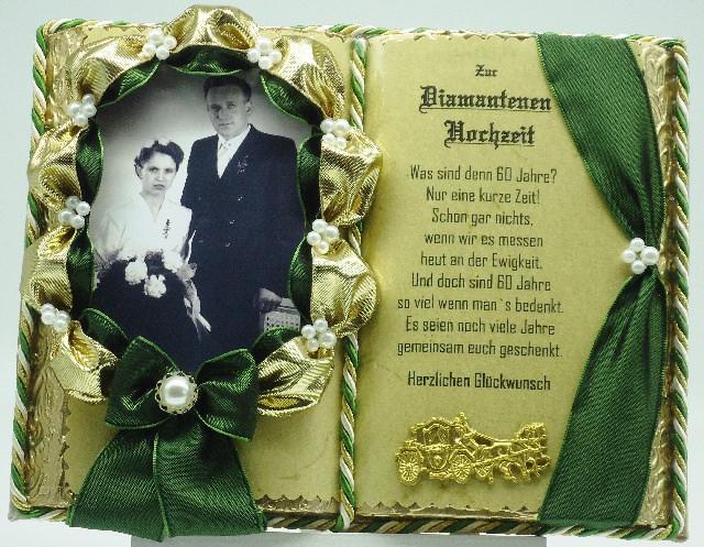 - Deko-Buch Diamantene Hochzeit für Foto mit Holz-Buchständer - Deko-Buch Diamantene Hochzeit für Foto mit Holz-Buchständer