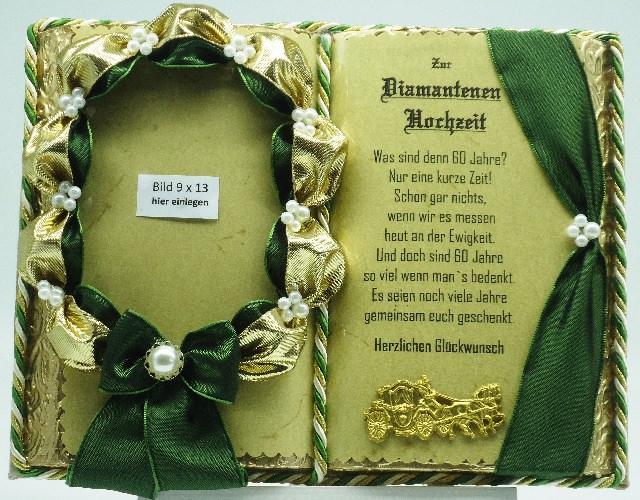 Kleinesbild - Deko-Buch Diamantene Hochzeit für Foto mit Holz-Buchständer