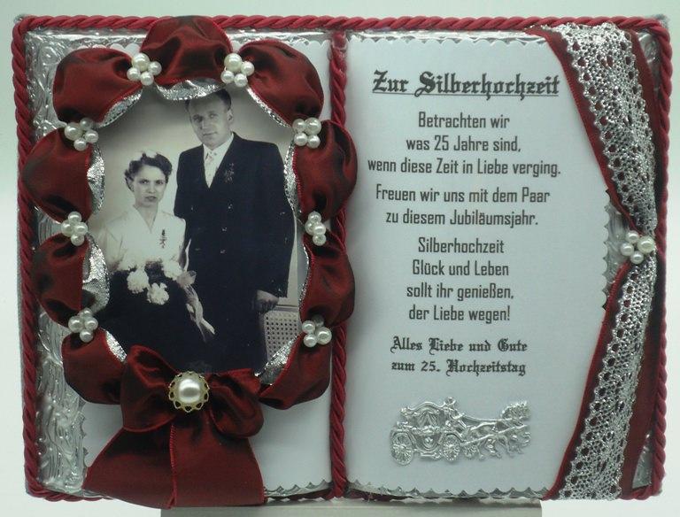 - Deko-Buch Silberhochzeit für Foto mit Holz-Buchständer - Deko-Buch Silberhochzeit für Foto mit Holz-Buchständer