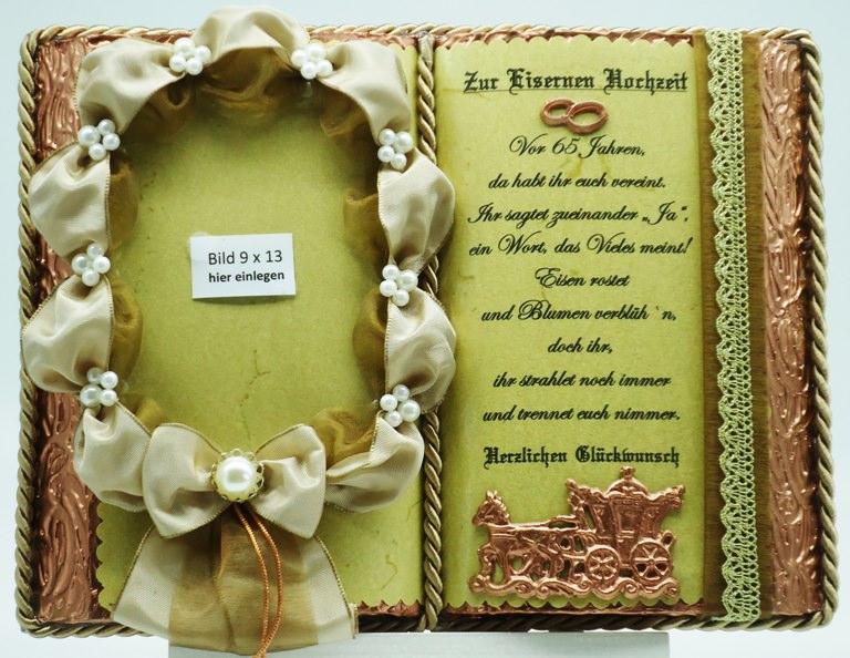 Kleinesbild - Deko-Buch zur Eisernen Hochzeit mit Holz-Buchständer