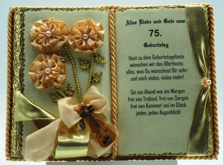 - Dekobuch zum 75. Geburtstag – mit Holz-Buchständer - Dekobuch zum 75. Geburtstag – mit Holz-Buchständer