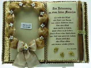 Kleinesbild - Trauerbuch-Gedenkbuch für Foto (mit Holz-Buchständer)