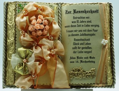 - Dekobuch zur Rosenhochzeit (mit Holzbuchständer - Dekobuch zur Rosenhochzeit (mit Holzbuchständer