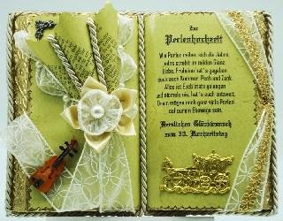 - Dekobuch zur Perlenhochzeit mit Holzbuchständer - Dekobuch zur Perlenhochzeit mit Holzbuchständer