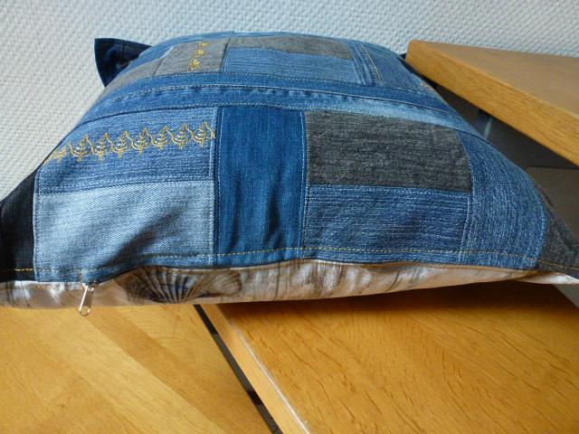 Kleinesbild - ★ upcycling ♥ Sofakissen ♥ used Jeans  ♥ Patchwork ♥  Kissenbezug ♥ Kissenhülle ★