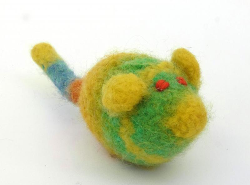 - Katzenspielmaus Katzenspielzeug aus Strickfilz mit Rassel, robust, waschbar Farbe gelb/grün orange Augen - Katzenspielmaus Katzenspielzeug aus Strickfilz mit Rassel, robust, waschbar Farbe gelb/grün orange Augen