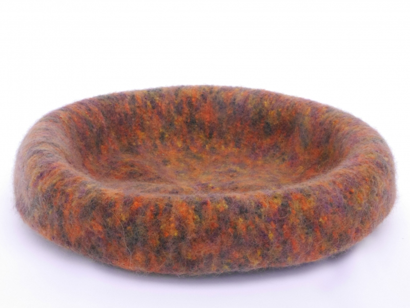 - Katzenkorb/Katzenbett aus Schafwolle Strickfilz orange Töne, waschbar   - Katzenkorb/Katzenbett aus Schafwolle Strickfilz orange Töne, waschbar