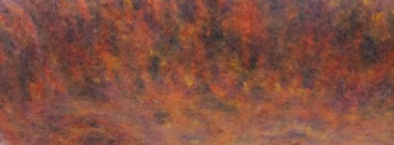 Kleinesbild - Katzenkorb/Katzenbett aus Schafwolle Strickfilz orange Töne, waschbar