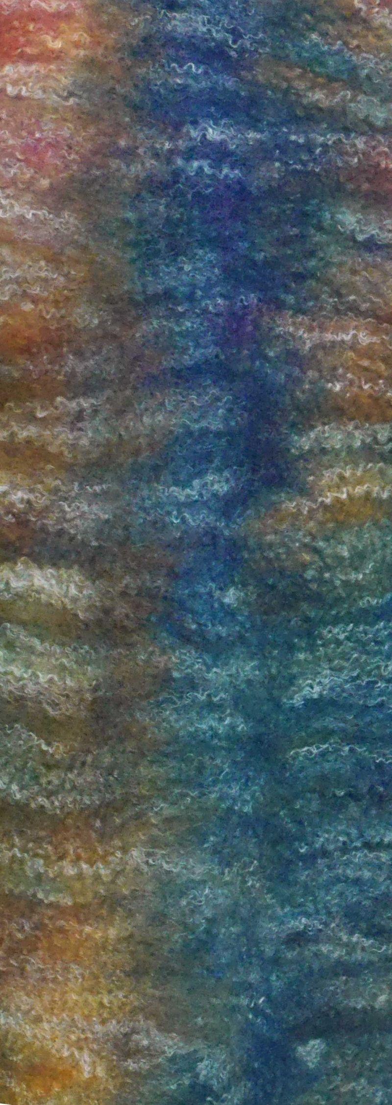Kleinesbild - Filzschal Merinowolle mit Bambusfasern handgemacht violett-blaugrün