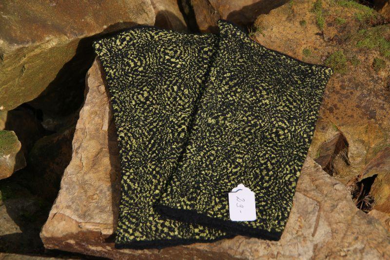 Kleinesbild - Handgefilzte Armstulpen aus schwarzer Wolle und gelb-schwarzer Pongeeseide