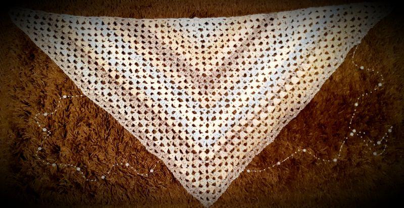 Kleinesbild - Schultertuch // Dreieckstuch in blau, beige, grau
