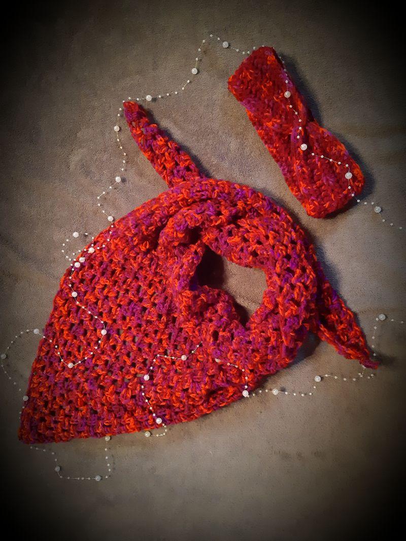 Kleinesbild - tolles Winter-Set aus Schultertuch und Stirnband in rot -meliert
