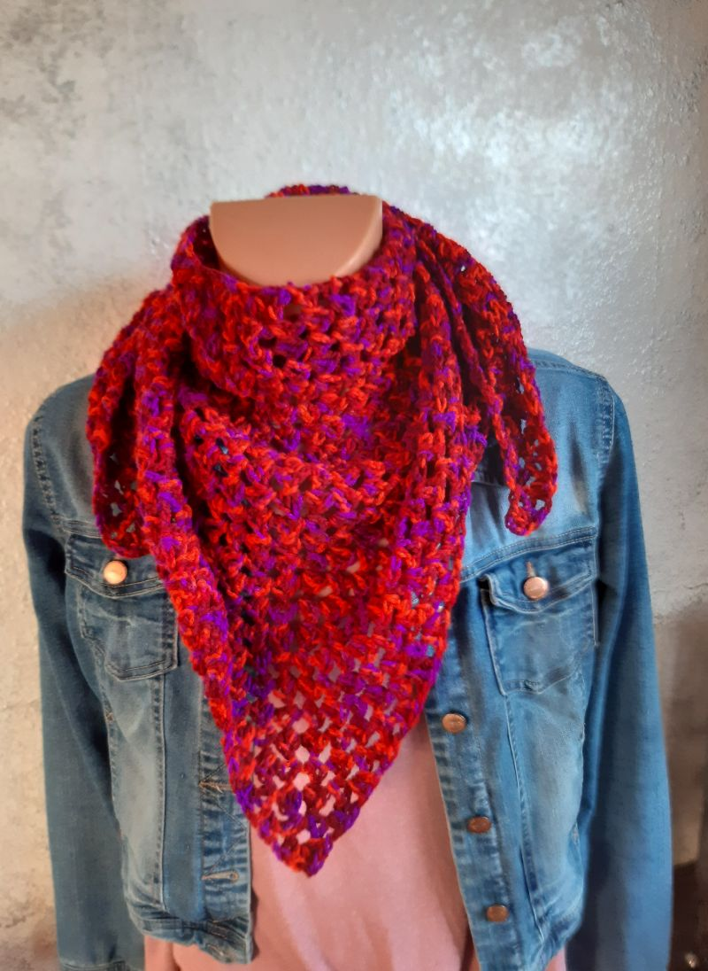 - tolles Winter-Set aus Schultertuch und Stirnband in rot -meliert - tolles Winter-Set aus Schultertuch und Stirnband in rot -meliert