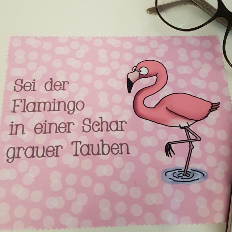 Kleinesbild - Flamingo Glas- und Brillenputztuch - Displayreinigungstuch - Mikrofasertuch individuell bedruckt